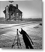 Abandoned School House And My Shadow Circa 1985 Metal Print by John Hanou