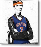 Abe Lincoln In A Carmelo Anthony New York Knicks Jersey Metal Print by Roly Orihuela