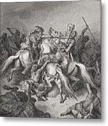 Abishai Saves The Life Of David Metal Print by Gustave Dore