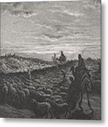 Abraham Journeying Into The Land Of Canaan Metal Print by Gustave Dore