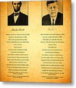 Abraham Lincoln And John F Kennedy Presidential Similarities And Coincidences Conspiracy Theory Fun Metal Print by Design Turnpike