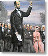 Abraham Lincoln Delivering The Gettysburg Address Metal Print by American School