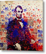 Abraham Lincoln With Flags Metal Print by Bekim Art