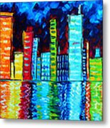 Abstract Art Landscape City Cityscape Textured Painting City Nights II By Madart Metal Print by Megan Duncanson