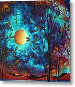 Abstract Art Landscape Tree Blossoms Sea Moon Painting Visionary Delight By Madart Metal Print by Megan Duncanson