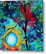 Abstract Art Landscape Tree Blossoms Sea Painting Under The Light Of The Moon I  By Madart Metal Print by Megan Duncanson