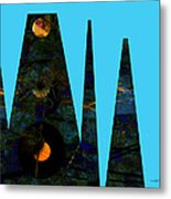 abstract - art- Mystical Moons  Metal Print by Ann Powell