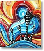 Abstract Art Original Colorful Funky House Painting Home On The Hill By Madart Metal Print by Megan Duncanson