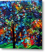 Abstract Art Original Landscape Painting Bold Colorful Design Shimmer In The Sky By Madart Metal Print by Megan Duncanson