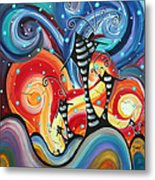 Abstract Art Whimsical Cityscape Funky Houses Homeland By Madart Metal Print by Megan Duncanson