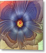 Abstract Blue Flower In Sunday Dress Metal Print by Karin Kuhlmann