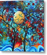 Abstract Contemporary Colorful Landscape Painting Lovers Moon By Madart Metal Print by Megan Duncanson