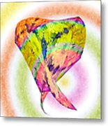 Abstract Crazy Daisies - Flora - Heart - Rainbow Circles - Painterly Metal Print by Andee Design