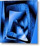 Abstract Design In Blue Contrast Metal Print by Mario Perez