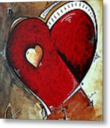 Abstract Heart Original Painting Valentines Day Heart Beat By Madart Metal Print by Megan Duncanson