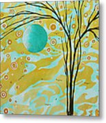 Abstract Landscape Painting Animal Print Pattern Moon And Tree By Madart Metal Print by Megan Duncanson