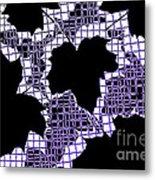 Abstract Leaf Pattern - Black White Purple Metal Print by Natalie Kinnear