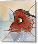 Abstract Red Flower Metal Print by Karin Kuhlmann