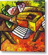 Acoustic Guitar On Artist's Table Metal Print by Kamil Swiatek