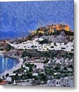 Acropolis Village And Beach Of Lindos Metal Print by George Atsametakis