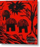 African Huts Red Metal Print by Caroline Street