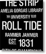 Alabama College Town Wall Art Metal Print by Replay Photos