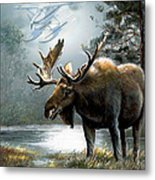 Alaska Moose With Floatplane Metal Print by Regina Femrite