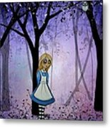 Alice In An Enchanted Forest Metal Print by Charlene Murray Zatloukal