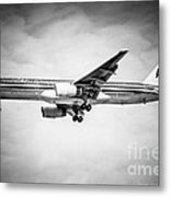 Amercian Airlines Airplane In Black And White Metal Print by Paul Velgos
