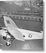 American Airlines Tri-motor Metal Print by Henri Bersoux