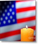 American Flag And Candle Metal Print by Olivier Le Queinec