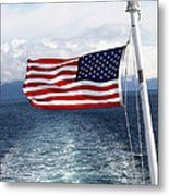 American Flag Blowing In The Wind At Sea Metal Print by Jessica Foster