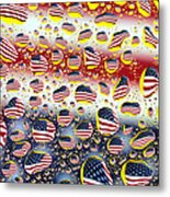 American Flag In Water Drops Metal Print by Paul Ge