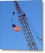 American Flag On Construction Crane Metal Print by Olivier Le Queinec