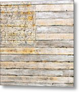 American Flag On Distressed Wood Beams White Yellow Gray And Brown Flag Metal Print by Design Turnpike