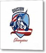 American Football Division Champions Shield Retro Metal Print by Aloysius Patrimonio