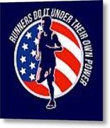 American Marathon Runner Running Power Retro Metal Print by Aloysius Patrimonio