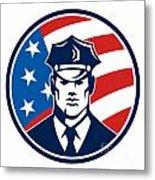 American Policeman Security Guard Retro Metal Print by Aloysius Patrimonio