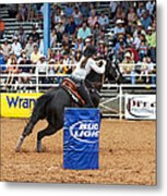American Rodeo Female Barrel Racer Dark Horse Iv Metal Print by Sally Rockefeller