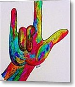 American Sign Language I Love You Metal Print by Eloise Schneider
