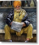 Americana - People - Casually Reading A Newspaper Metal Print by Mike Savad
