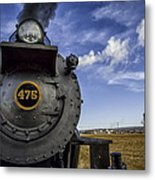 Amish Farmland And Brilliant Blue Sky Frame #475 Steam Engine - Strasburg Rr   02 Metal Print by Mark Serfass