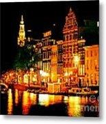Amsterdam At Night Four Metal Print by John Malone