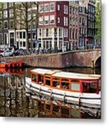 Amsterdam Canal And Houses Metal Print by Artur Bogacki