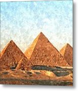 Ancient Egypt The Pyramids At Giza Metal Print by Gianfranco Weiss