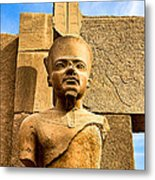 Ancient Face Of A Pharaoh At Karnak Metal Print by Mark E Tisdale