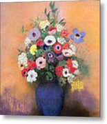 Anemones And Lilac In A Blue Vase Metal Print by Odilon Redon