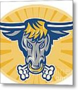 Angry Texas Longhorn Bull Head Front Metal Print by Aloysius Patrimonio