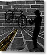 Another Bike On The Wall Metal Print by Barbara St Jean