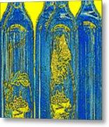 Antibes Blue Bottles Metal Print by Ben and Raisa Gertsberg